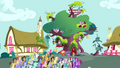 Crowd of ponies in front of Twilight's library S3E03.png