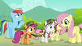 Fluttershy buys cookies; Rainbow waves at Harry S6E15.png