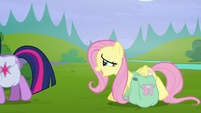 "Fluttershy straining ""we'll find out when we get home"" S5E23"