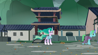 Mistmane alone in the village square S7E16