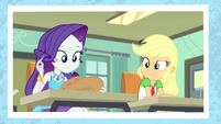 Photo of Rarity stylizing Applejack's hat EGFF