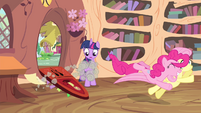Pinkie Pie jumps towards Fluttershy S4E11