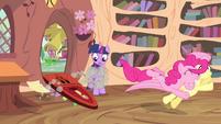Pinkie Pie jumps towards Fluttershy S4E11