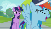 Rainbow laughing at Twilight's words S9E15