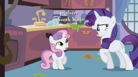 Rarity almost about to scold Sweetie Belle S2E05
