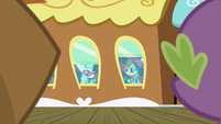 Rarity and Rainbow Dash waving goodbye S6E17
