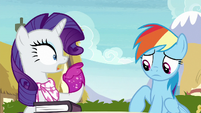 Rarity gasps in shock at Rainbow Dash S8E17