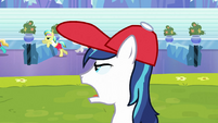 Shining Armor shouting to athletes S3E12