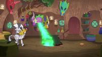 Spike belching fire under Zecora's cauldron S8E11