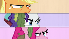 Splitscreen of AJ, Rarity, and Pinkie looking at each other S6E22