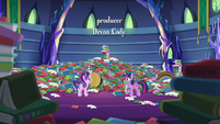 Twilight, Spike, and Starlight in messy library S6E21