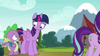 Twilight Sparkle and Spike look at each other S5E26