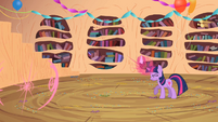 Twilight continues to use her magic to make Spike appear in front of her S2E10