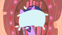 Twilight hit by Applejack's pillow S1E08