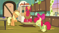 AJ, Apple Bloom, and Big Mac sigh in relief S7E13.png