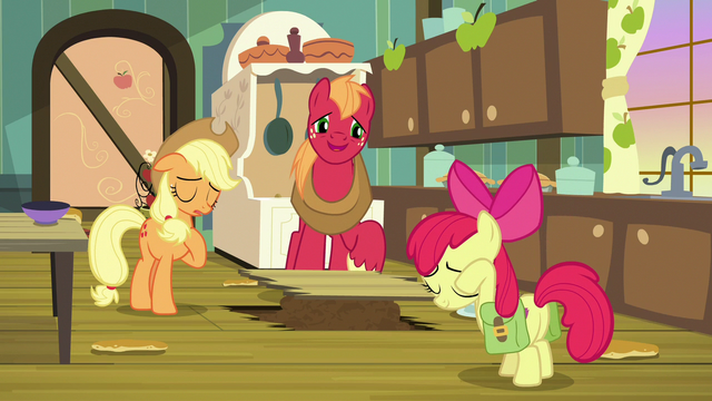File:AJ, Apple Bloom, and Big Mac sigh in relief S7E13.png