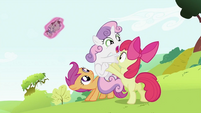 Apple Bloom holding Sweetie Belle off S2E03