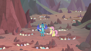 Ember and Fluttershy in hatching grounds S9E9