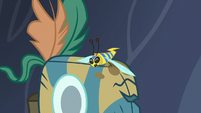 Flash bee cuddling next to Meadowbrook's mask S7E20