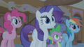 "Pinkie Pie, Rarity, Spike and Rainbow Dash ""A what!?"" S01E09.png"