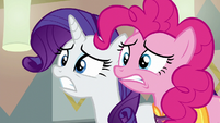 Pinkie Pie and Rarity in intense worry S6E12