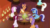 Saffron serving flat-noodle soup to ponies S6E12