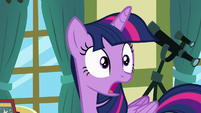 Twilight Sparkle looking behind her in shock S7E3