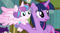 Twilight and Flurry Heart hear Nurse Redheart S7E3