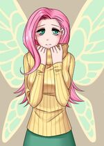 93945 safe fluttershy humanized breasts winged-humanization hootershy artist-apzzang