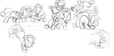 Applejack fighting production sketch Fighting is Magic