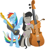 Rainbow Dash playing a guitar and Octavia playing the cello