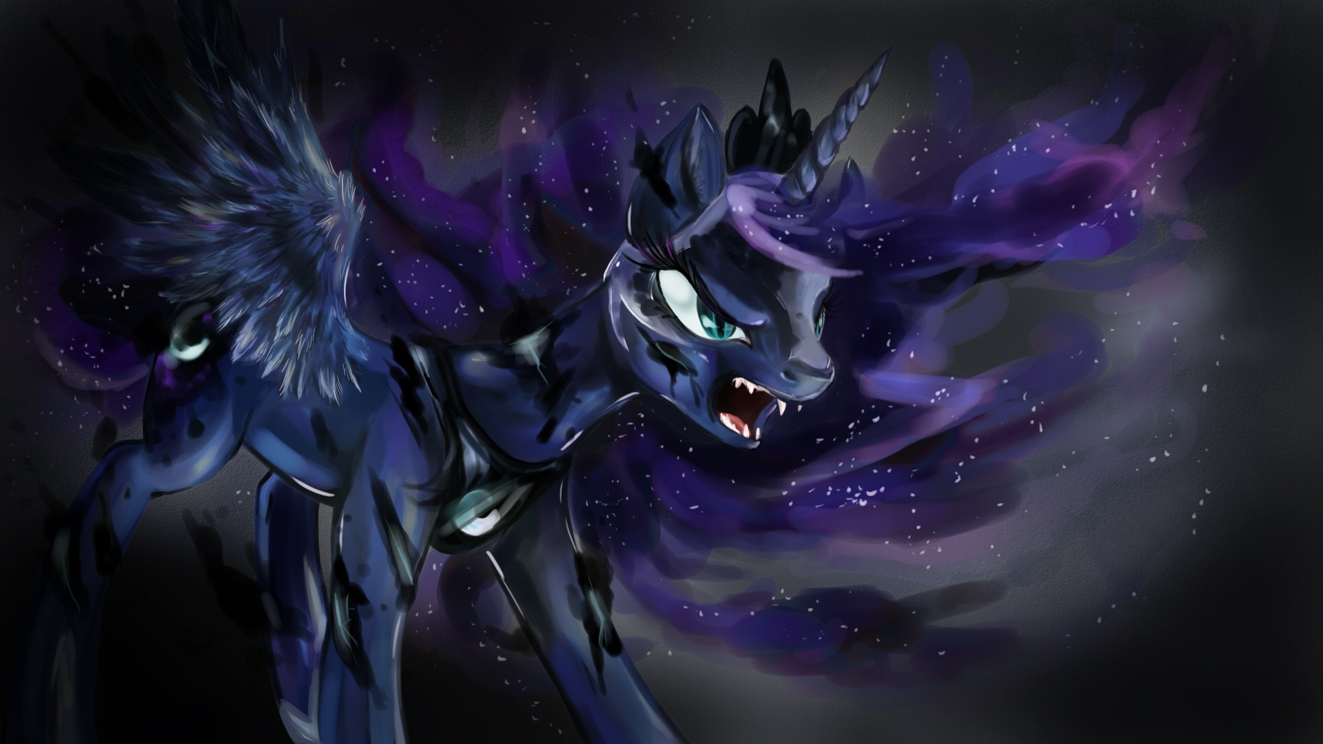 My Little Pony Coloring Pages Nightmare Moon : Image princess luna transforming into nightmare moon wallpaper
