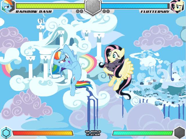 image rainbow dash vs fluttershy cloudsdale fighting is magic jpg