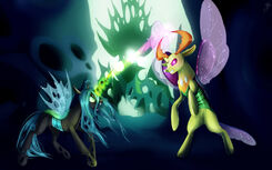 Chrysalis vs Thorax by JuliaGoldfox