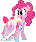 Pinkie Pie in a dress complete with a necklace and bow