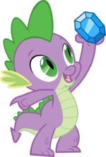 Spike holding up a diamond
