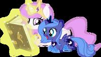 Princess Celestia and Princess Luna filly reading book