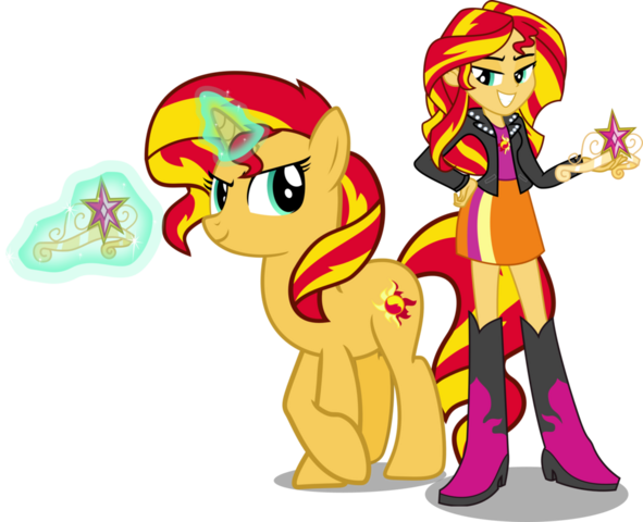 File:Sunset Shimmer And Sunset Shimmer by Vector-Brony.png