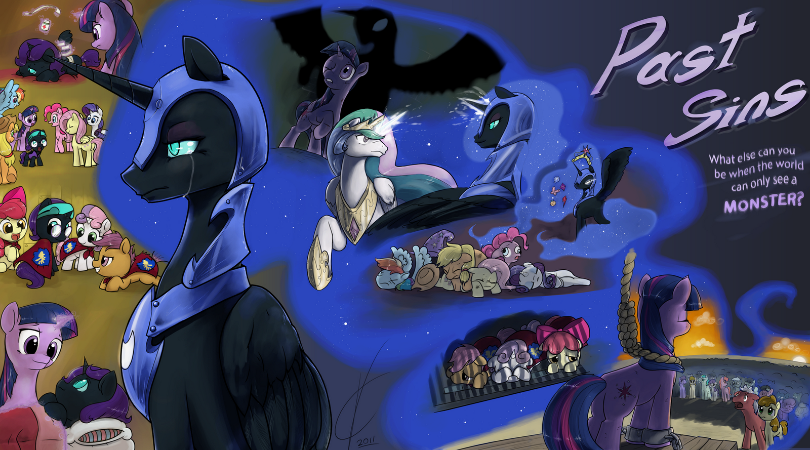 My Little Pony Coloring Pages Nightmare Moon : Image past sins coverart by dreatos my little pony fan