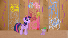 Spike displaying fear at his new god princess