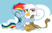 Safe rainbow-dash filly gilda hug griffon artist-teygrim