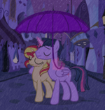 Duskshimmer Rainy Night in Canterlot by Drewmwhit