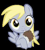 Derpy Hooves drinking her chocolate milkshake