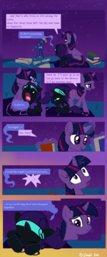 Nyx and Twilight Sparkle stargazing by Dotrook