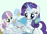 Sweetie Belle and Rarity give Opal a bath
