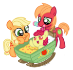 Applejack and Big Macintosh look at baby Apple Bloom