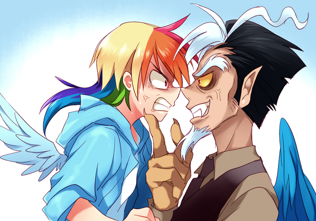 File:Rainbow Dash and Discord by megarexetera.png