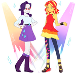 Sunset and Rarity by MagneticSkye