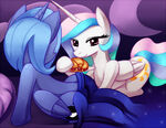 Luna and Celestia sharing sandwich by negativefox