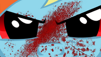 Rainbow Dash with blood on her face